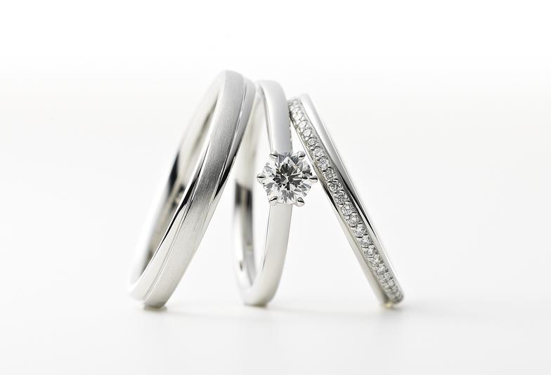 【浜松】シンプルなデザインの結婚指輪。三つの星をテーマにしたイノーヴェトリニティのブライダルリング