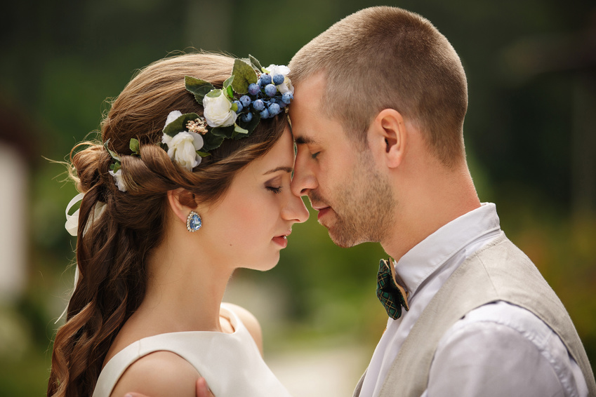 Wedding couple, portrait of bride and groom at their wedding day