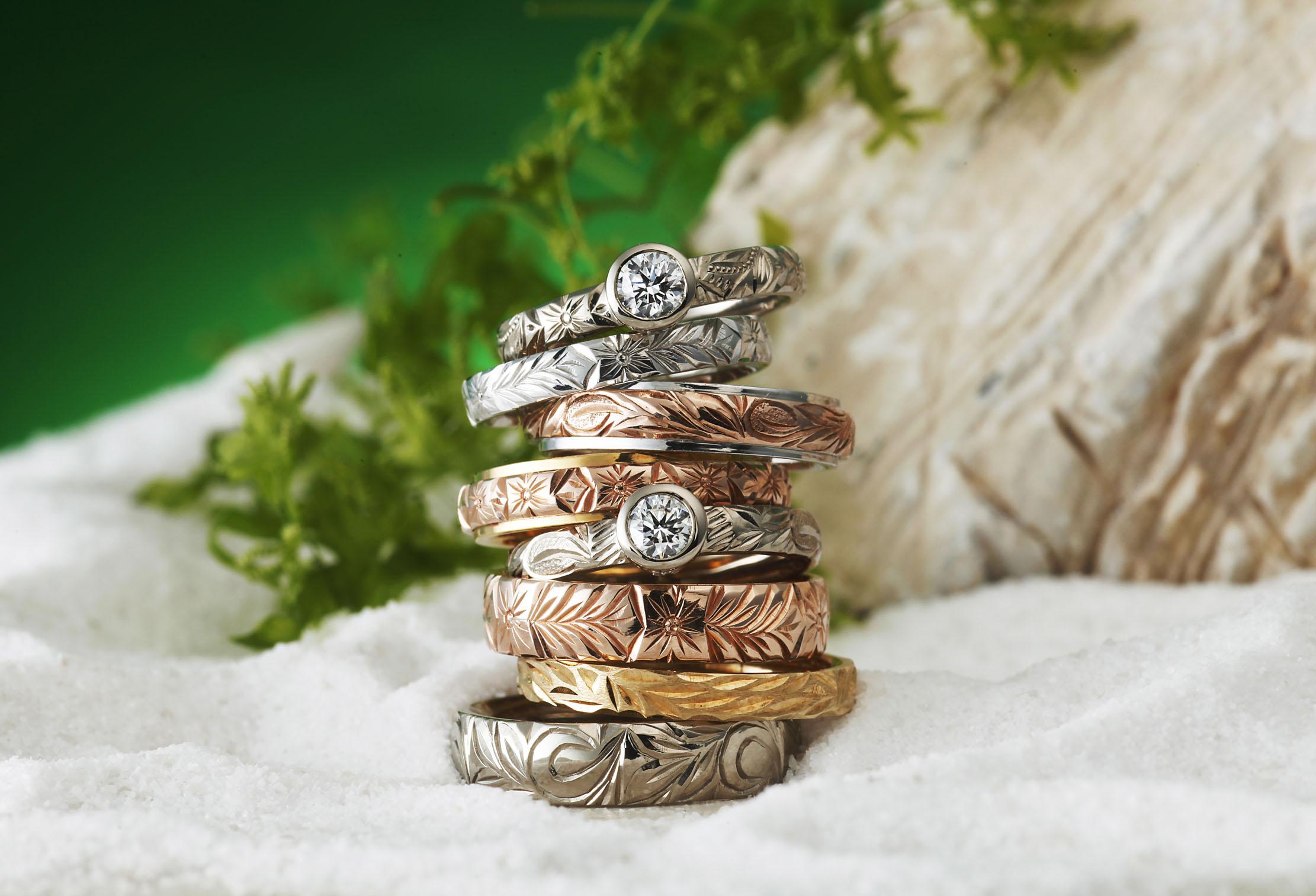 【静岡市】ハワイアンジュエリーで結婚指輪!こだわりの製造方法と手堀りで仕上げた『HEART ISLAND』