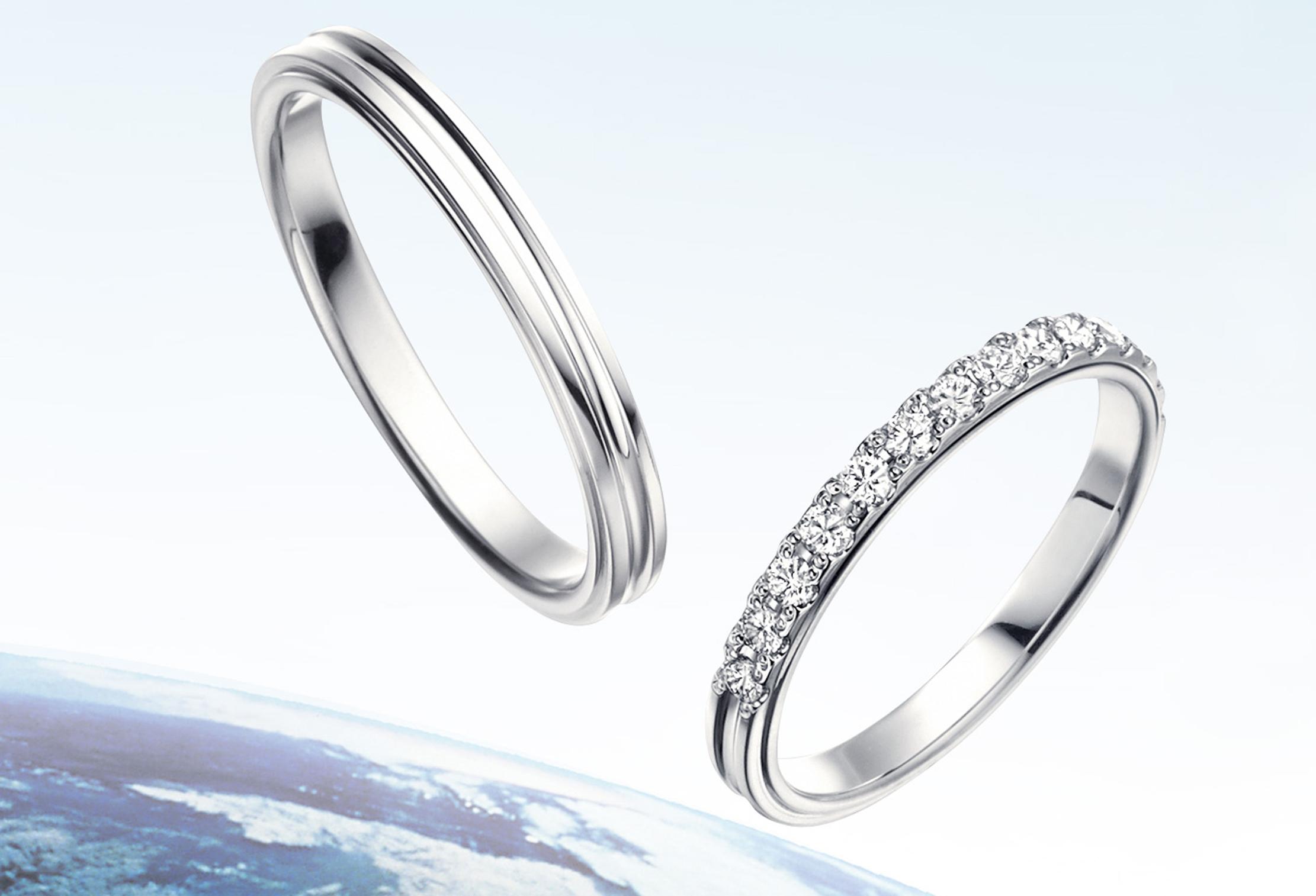 静岡 アイスブルーダイアモンドが輝く結婚指輪-TOWAIYOU(トワイユ)-