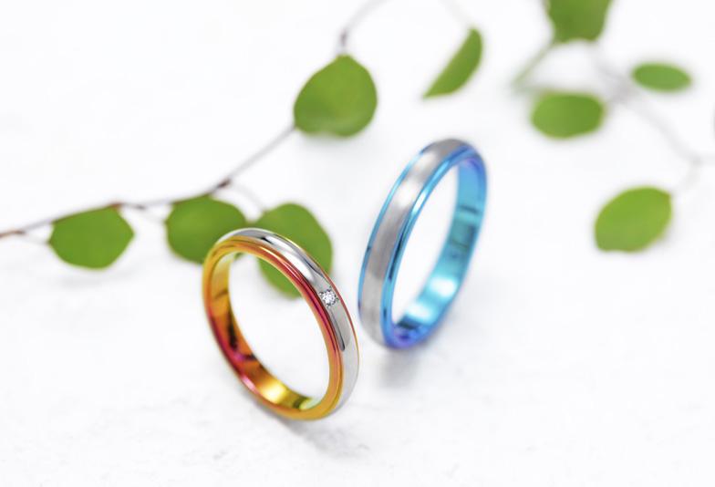 きれいな橙色・オレンジの結婚指輪 浜松で色が選べる2人だけの特別な結婚指輪を探すなら