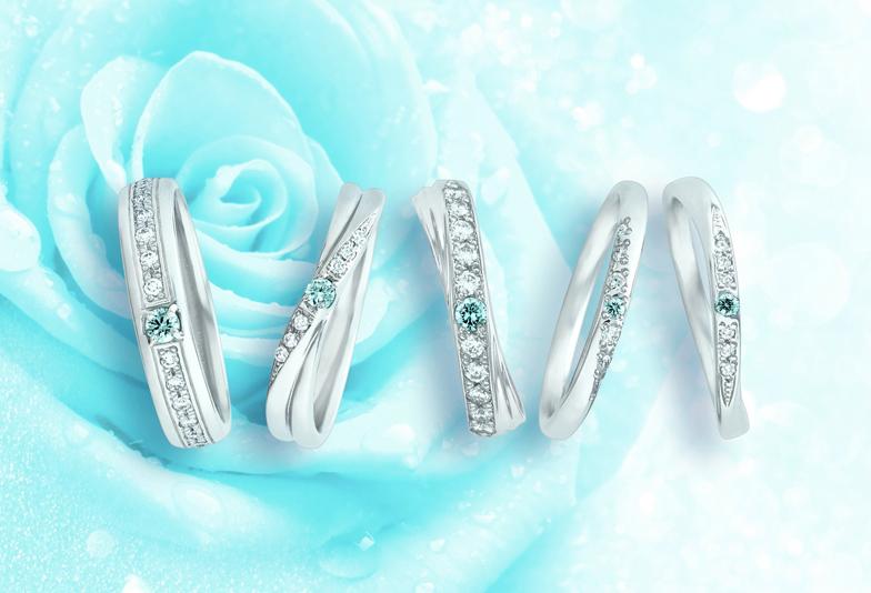 【静岡人気】サムシングブルーの由来のもとに作られたブルーダイヤモンドがついた結婚指輪