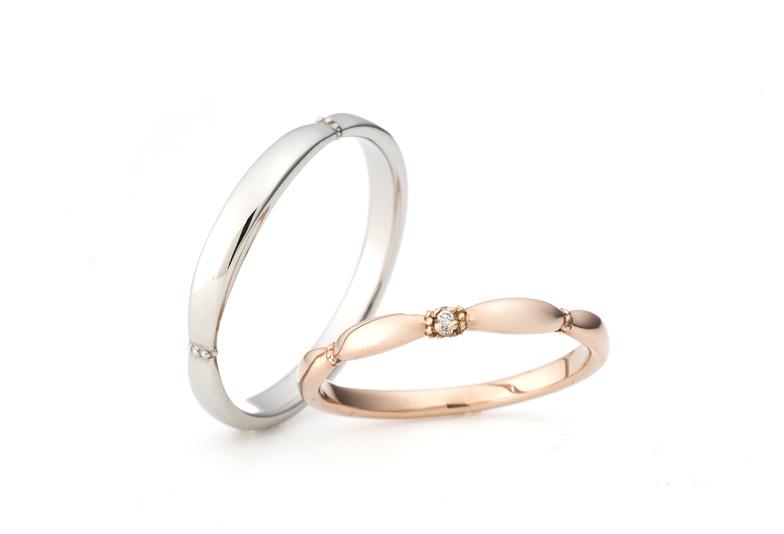ピンクゴールド結婚指輪アンティークオシャレ