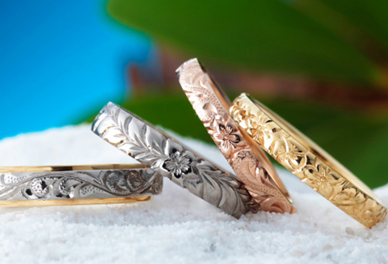 【大阪・心斎橋】ハワイアンジュエリーの結婚指輪には、やっぱりハワイ語の刻印◎