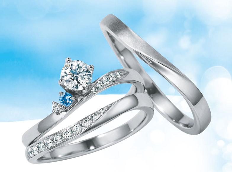【静岡市】可愛い!婚約指輪・結婚指輪にアクアマリンが添えられた「Only you」がおすすめ