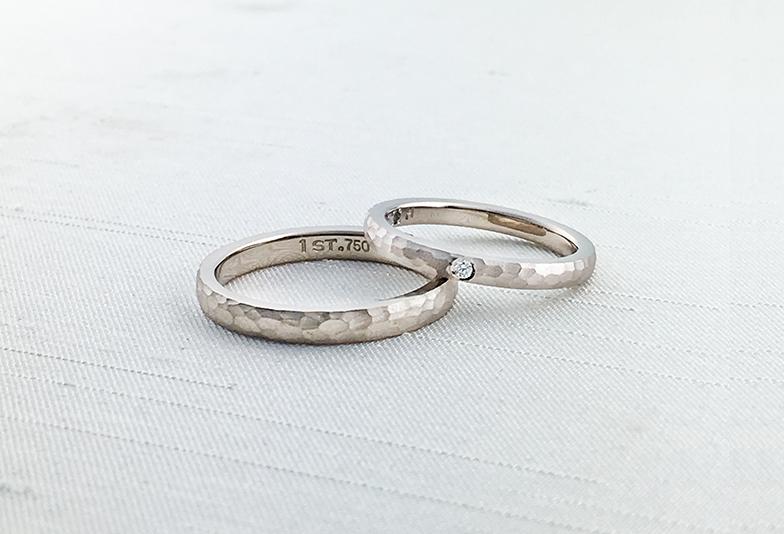 浜松市結婚指輪ゴールド槌目