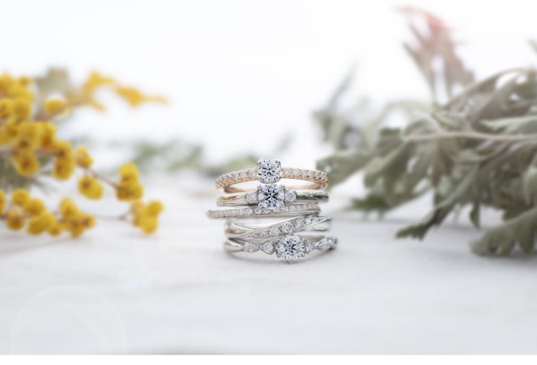【浜松市】シンプルな結婚指輪に重ね着けしたいなら!MIMOZAのセットリングがおすすめ♡