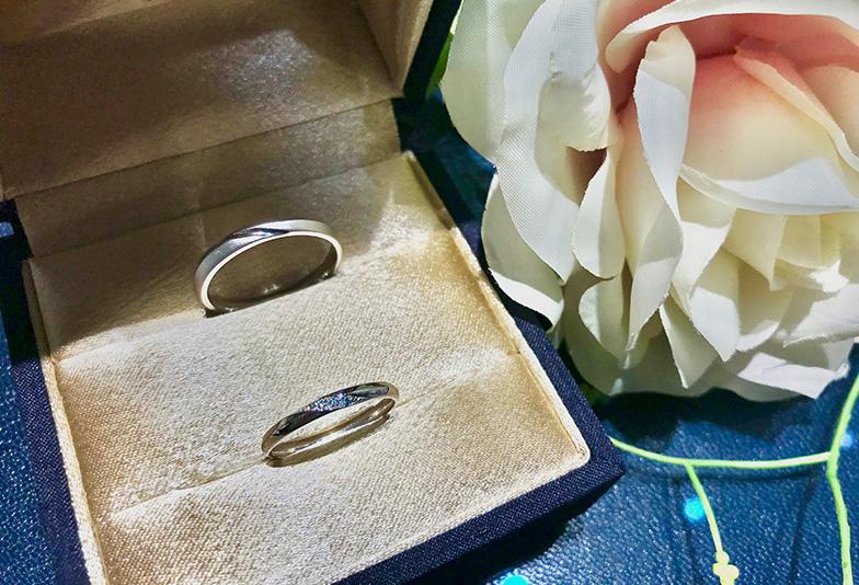 【福井市】結婚指輪、カフェリングのアイスブルーダイヤモンドが幸せを呼ぶと人気!