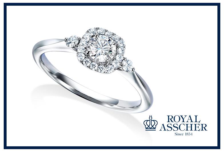 ロイヤルアッシャーの婚約指輪B14P