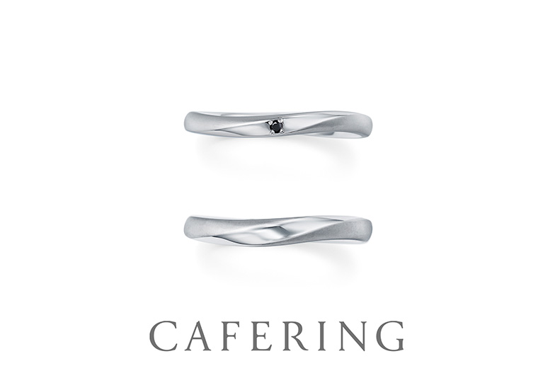 CAFERINGの結婚指輪-ローブドゥマリエ、金沢市オシャレな結婚指輪、金沢市ブラックダイヤモンド、金沢市男性に人気の結婚指輪、