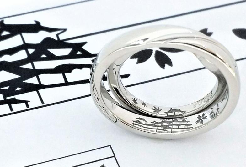 姫路城を刻印した結婚指輪