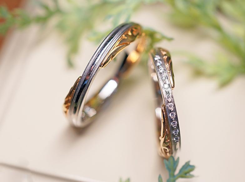 結婚指輪個性的なコンビネーション