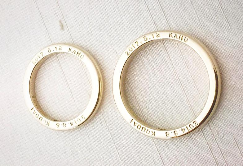 浜松市結婚指輪側面刻印